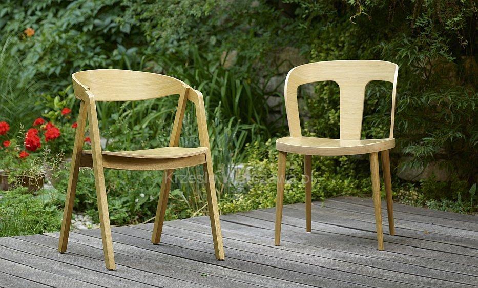 Dębowy Fotel LOX i krzesło DIKA dąb naturalny